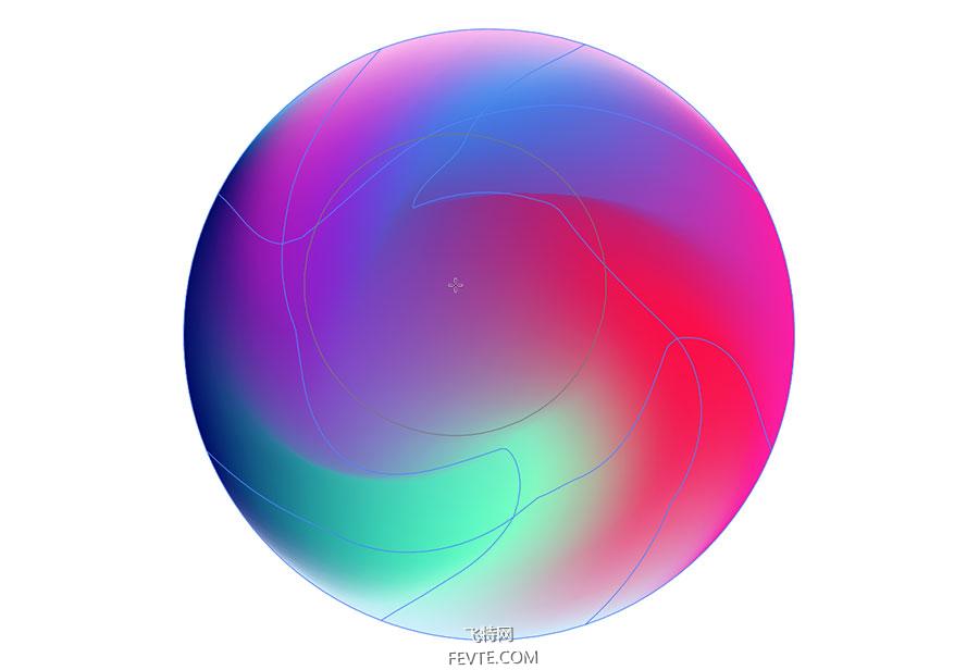 AI网格渐变制作炫彩球体教程 飞特网 AI实例教程
