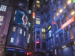C4D霓虹灯朋克城市街道