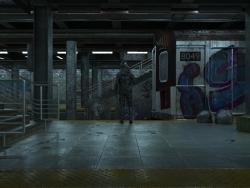 C4D朋克风格末日废弃的地铁站