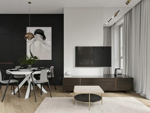 70-80平米黑灰风格室内设计