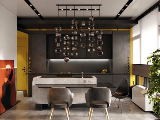 充满个性和活力的三室两厅室内装修设计