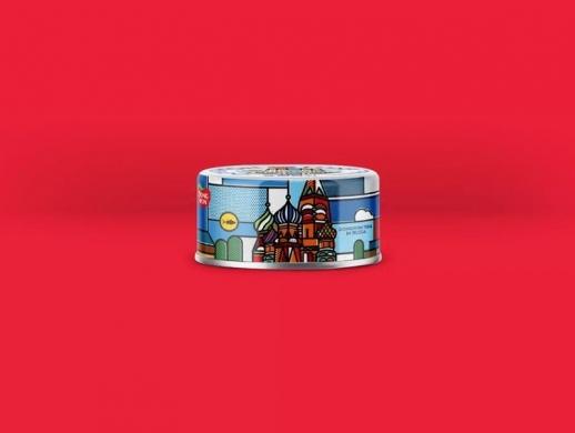 扁平插画风格金枪鱼罐头包装设计