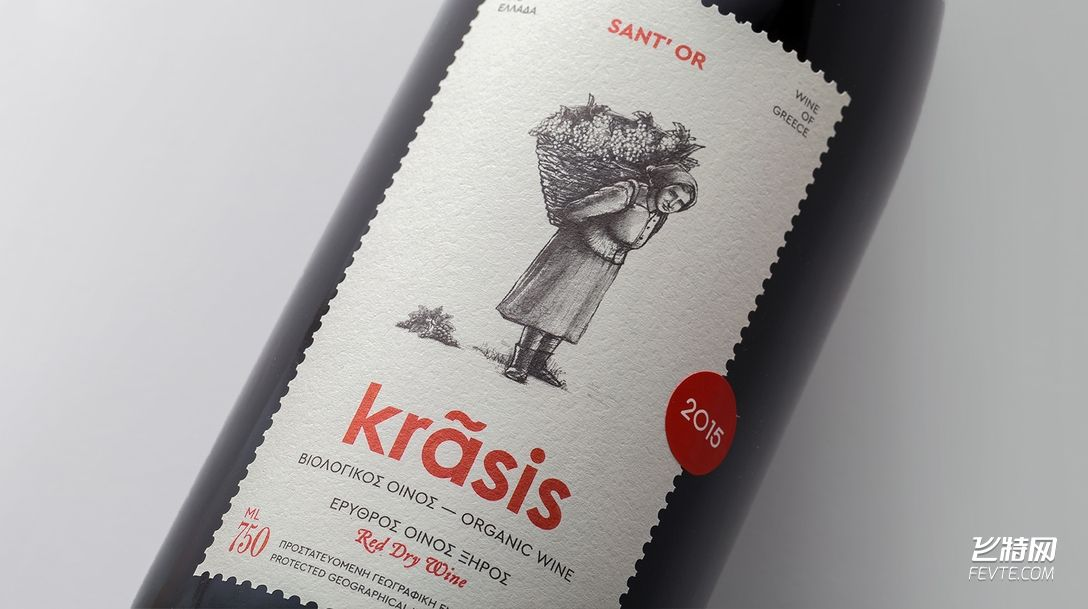 一款希腊红酒酒标设计 飞特网 酒包装设计