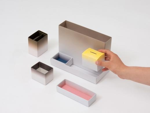 渐变风格文具收纳盒设计