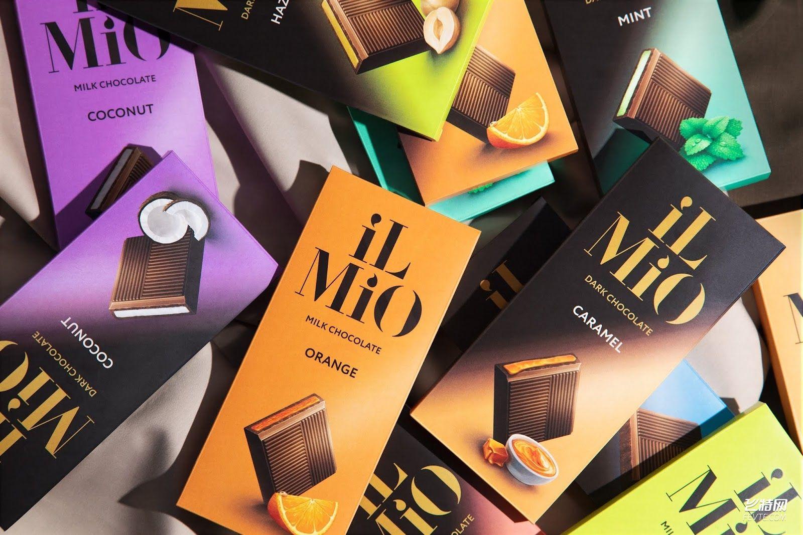 渐变现代风格的巧克力包装设计 飞特网 食品包装设计
