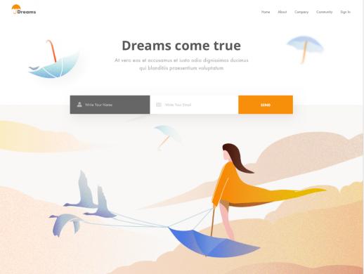 梦想变现实网站UI设计