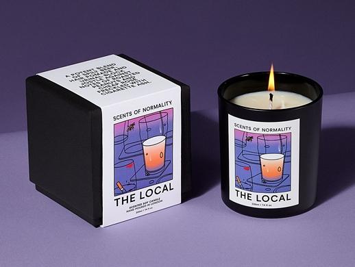 清新插畫風格香薰蠟燭包裝盒設計