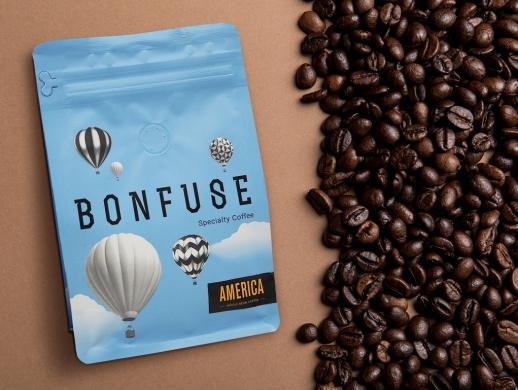 清新风格咖啡豆包装袋设计