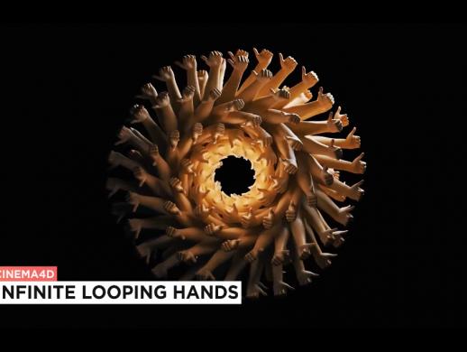 C4D制作创意千手循环动画视频教程
