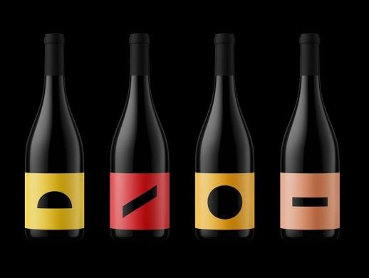 简约几何形状红酒标签设计