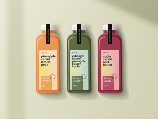 有机果汁包装瓶和标签设计