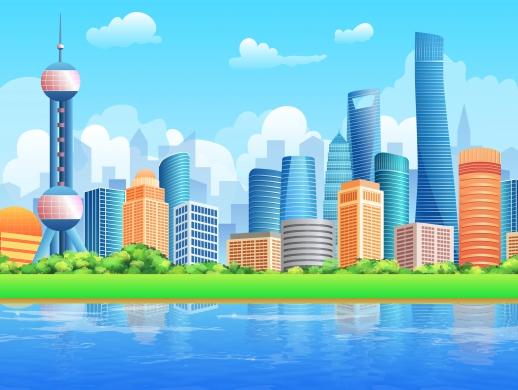 城市建筑插画设计都市插图扁平化