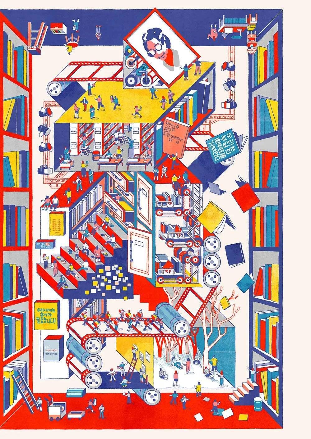 赏析 | Jisu Choi 的个性插画,色彩线条细节丰富 飞特网 插画设计