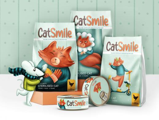 插画风格宠物食品包装设计