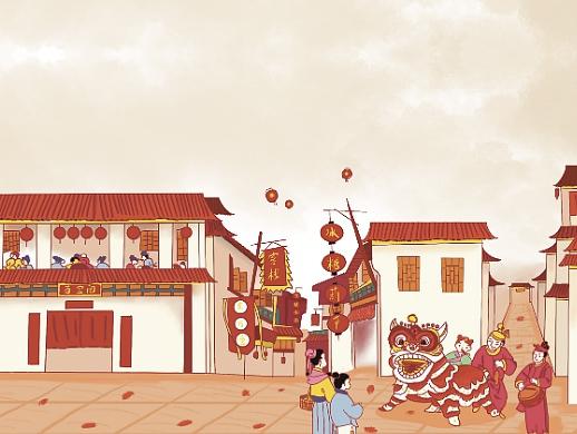春节街景插画