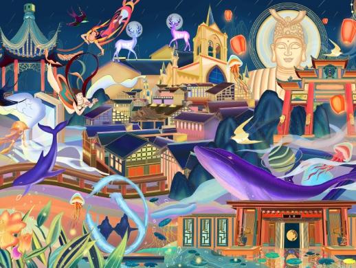 文旅地产项目香港置地/招商蛇口十周年概念插画《造梦空间》 ...
