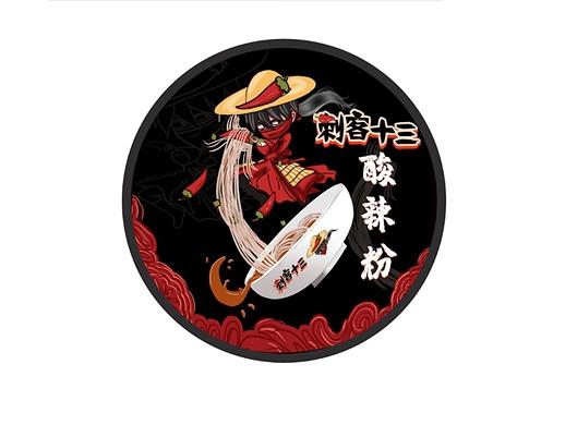 刺客十三酸辣粉卡通形象包装设计
