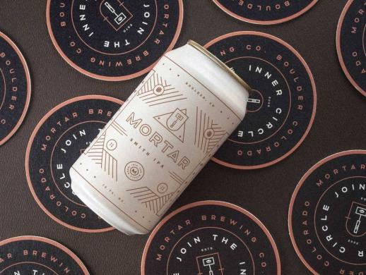 简约线条图案风格听装啤酒包装设计