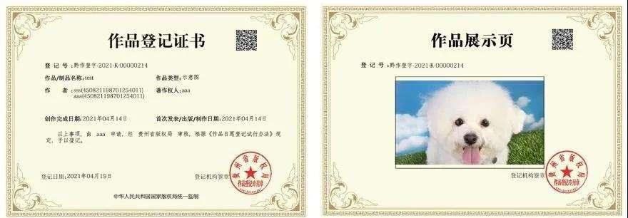 瑞云版权登记平台 - 版权登记证书样式