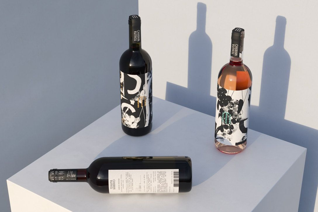 水墨画风格葡萄酒酒标设计 飞特网 酒包装设计