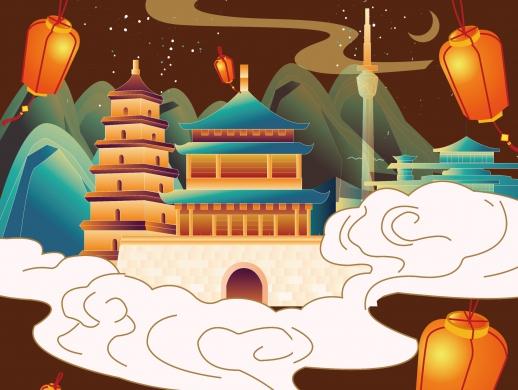 唐诗之美贵妃插画海报设计