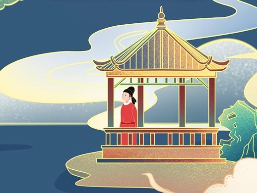 唐诗之美海报场景设计