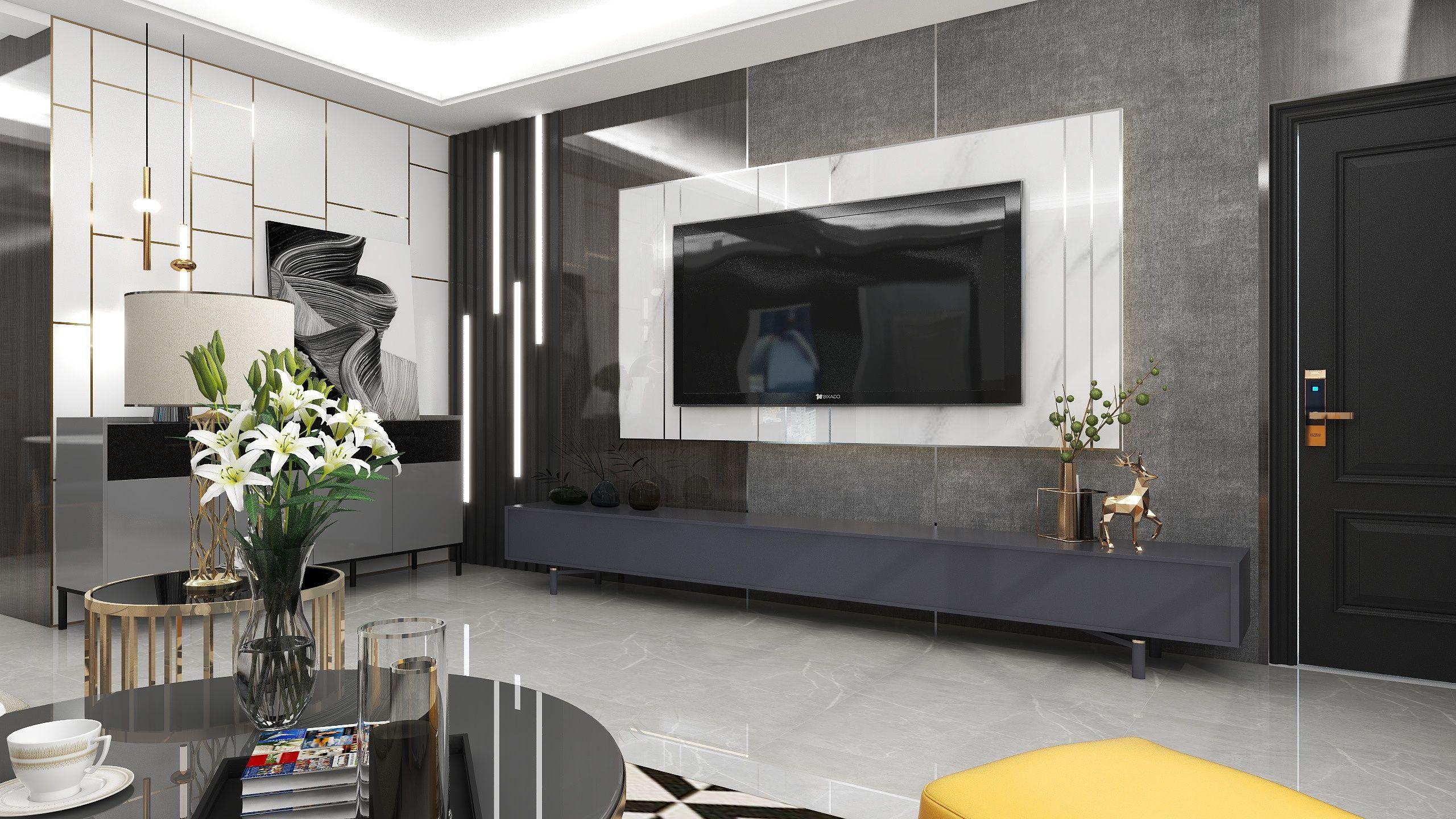 輕奢風格客餐廳設計 飛特網 原創室內設計