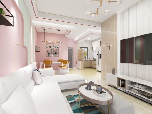粉色简约风格室内设计