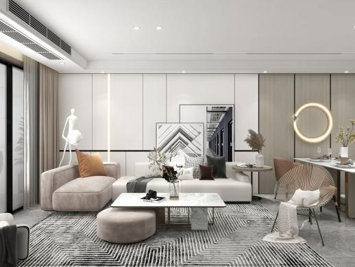 极简艺术之美,145平的大平层室内设计