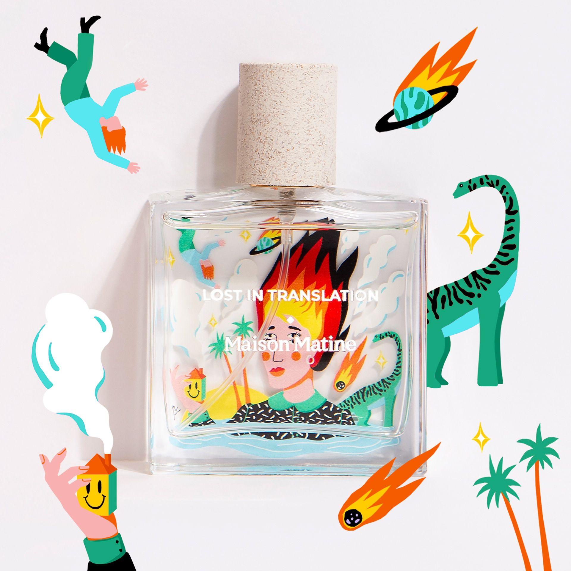 手绘插画风格—香水瓶身图案设计