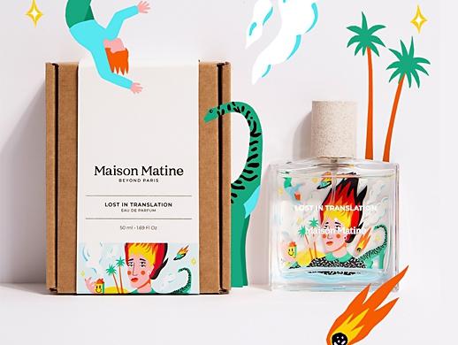 香水瓶身图案-手绘插画设计