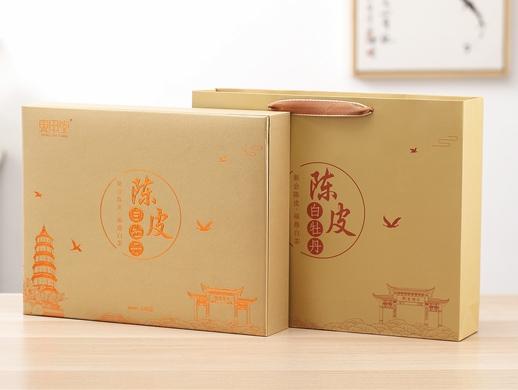 陈皮白茶礼盒包装设计-手绘创意