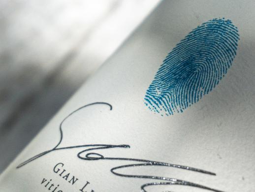 极简原生创意指纹红酒酒标设计