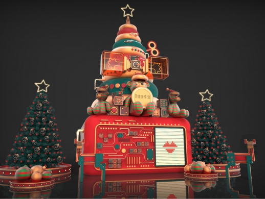 2018上海恒隆广场圣诞树美陈设计