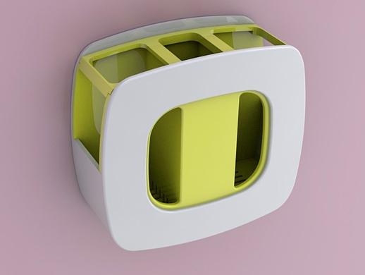 简约撞色方形筷筒设计